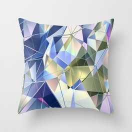 Pastel Fractal Abstract Geometric Print Throw Pillow