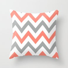 Coral & Gray Chevron Throw Pillow