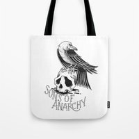 sons of anarchy Tote Bags featuring Sons of Anarchy  by Christiano Mere