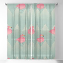 Sugar Flamingo Pattern Sheer Curtain