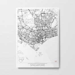 Singapore Map White Metal Print