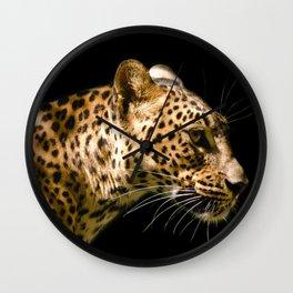 Leopard on black - side Wall Clock