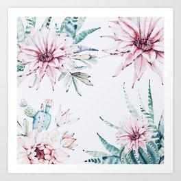 Cactus flowers Art Print