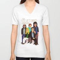 velvet underground V-neck T-shirts featuring The Velvet Underground by Angela Dalinger