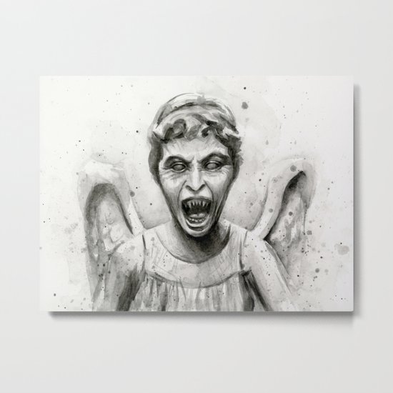 Weeping Angel Watercolor Doctor Who Art Metal Print