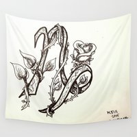 capricorn Wall Tapestries featuring Capricorn by Megan Dill