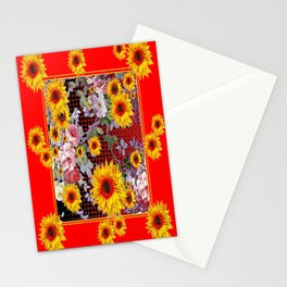 Chinese Red-Yellow Sunflowers Rose Garden Pattrn Stationery Cards