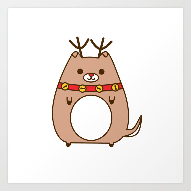 cute christmas reindeer pupsheen art print by astralwisp society6 cute christmas reindeer pupsheen art print by astralwisp