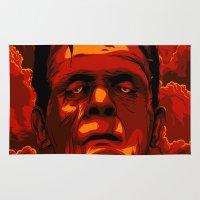 frankenstein Area & Throw Rugs featuring Frankenstein by Denis O'Sullivan