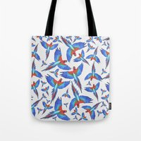 parrot Tote Bags featuring Parrot. by Eleaxart