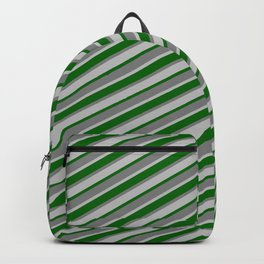 Dark Green, Gray, and Grey Colored Stripes/Lines Pattern Backpack