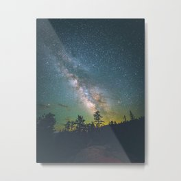 Night Sky Landscape Photography Stars Sky Milky Way Galaxy With Silhouette Trees Green Hues Metal Print