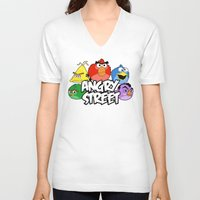 sesame street V-neck T-shirts featuring Angry Street: Angry Birds and Sesame Street Mashup by Olechka