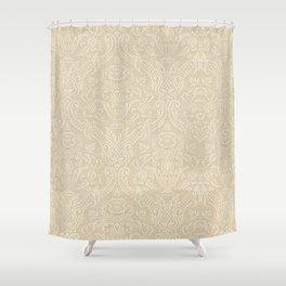Vintage Wallpaper Pattern Beige Floral Elegant Damask Shower Curtain
