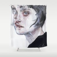 agnes Shower Curtains featuring coming true by agnes-cecile