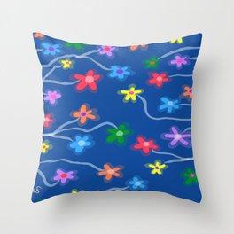 Blue garden Throw Pillow