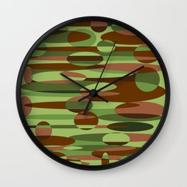 Trendy Green and Brown Camouflage Spheres Wall Clock