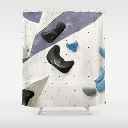 Geometric abstract free climbing bouldering holds black blue men Shower Curtain