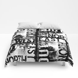 East South North West Black White Grunge Typography Comforters