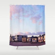 Midcentury Style Homes along the Beach, Sunset Beach, California Shower Curtain