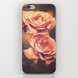 Three Pink Roses (Vintage Flower Photography) iPhone Skin