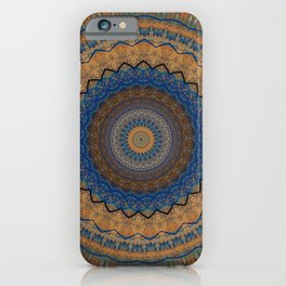 Rust Blue Mandala Design iPhone Case