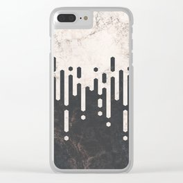 Marble and Geometric Diamond Drips, in Charcoal Grey and Light Beige Clear iPhone Case