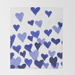 Valentine's Day Watercolor Hearts - blue Throw Blanket