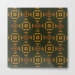 Orange squares abstract pattern Metal Print