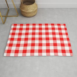 Jumbo Valentine Red Heart Rich Red and White Buffalo Check Plaid Rug
