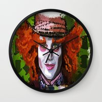 mad hatter Wall Clocks featuring Mad Hatter by grapeloverarts