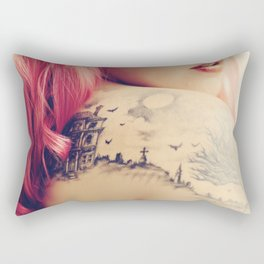 Haunted House Tattoo Rectangular Pillow
