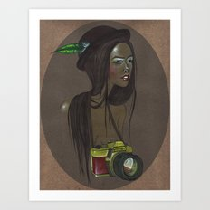 Girl with Camera Art Print