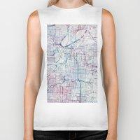 kansas city Biker Tanks featuring Kansas city map by MapMapMaps.Watercolors