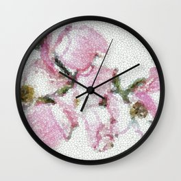 Dogwood Tree Flowers (stained glass-pink&green) Wall Clock