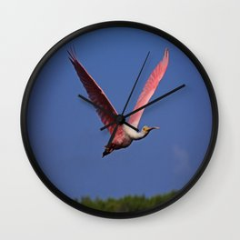 Roseate Spoonbill in Flight I Wall Clock