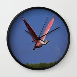 Roseate Spoonbill in Flight I Wall Clock
