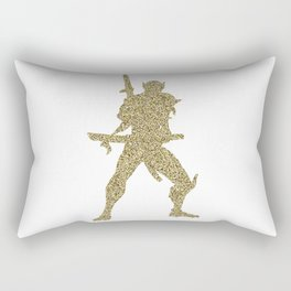 Gold Glitter Genji Rectangular Pillow