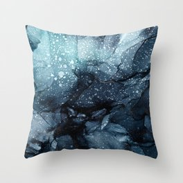 Moody Ocean Seas Ink Abstract Painting Throw Pillow