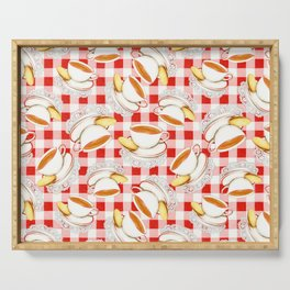 Cup of Tea, a Biscuit and Red Gingham Serving Tray