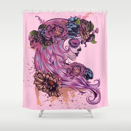 Sugar skull girl with pink hair in flower wreath Shower Curtain