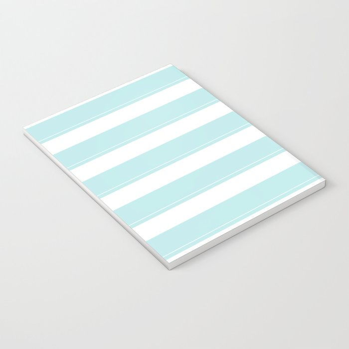Striped 2 - turquoise stripes on white - #Society6 Notebook
