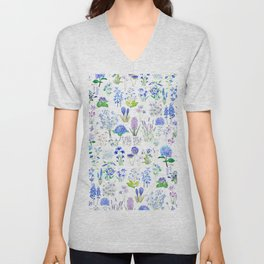 blue and purple flower collection 2020 watercolor  Unisex V-Neck