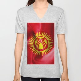 Kyrgyzstan Flag Unisex V-Neck