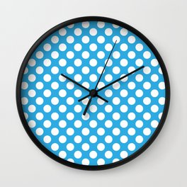 White Polka Dots with Blue Background Wall Clock
