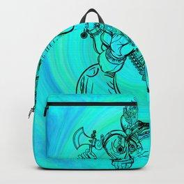 Lord Ganesha on Aqua Spiral Backpack