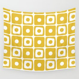Mid Century Square Dot Pattern Mustard Yellow Wall Tapestry
