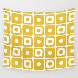 Mid Century Square Dot Pattern Mustard Yellow Wall Tapestry