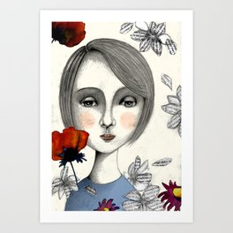 young thinking woman Art Print
