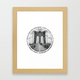 Brooklyn Bridge New York City (black & white badge emblem) Framed Art Print